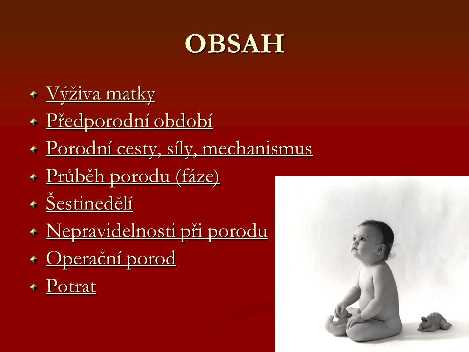 OBSAH Výživa matky Výživa matky Předporodní období Předporodní období Porodní cesty, síly, mechanismus Porodní cesty, síly, mechanismus Průběh porodu