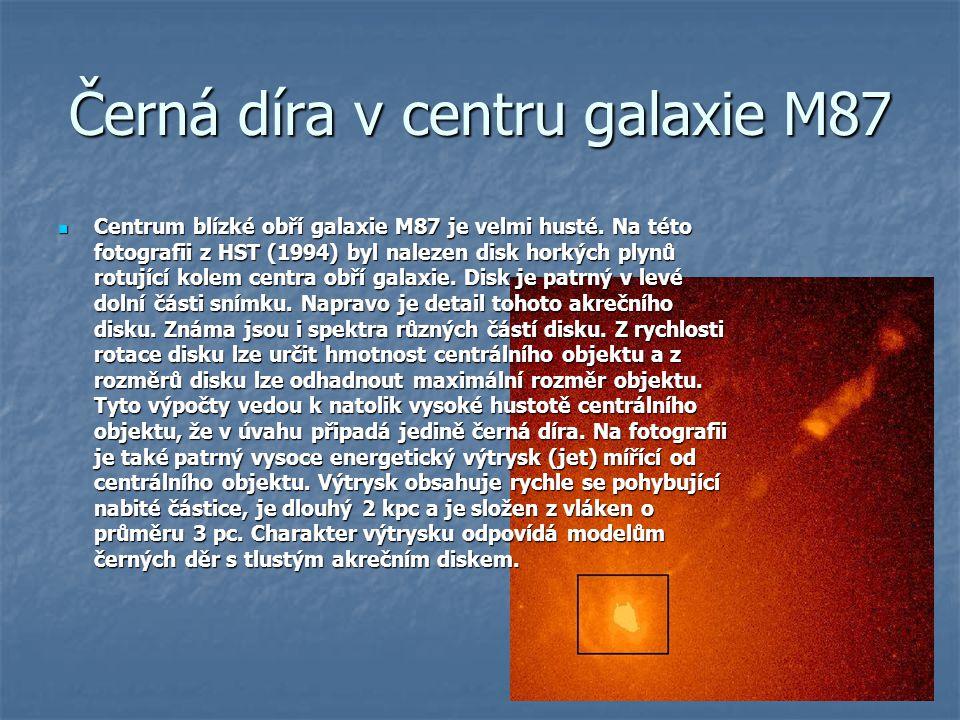 Černá díra v centru galaxie M87 Centrum blízké obří galaxie M87 je velmi husté. Na této fotografii z HST (1994) byl nalezen disk horkých plynů rotujíc