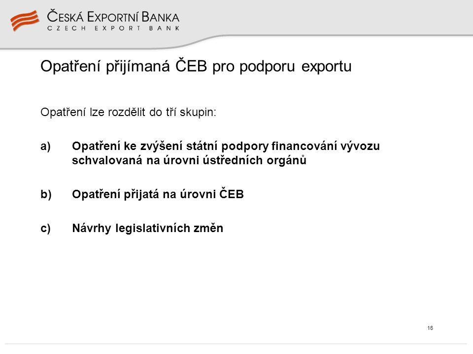 16 Opatření přijímaná ČEB pro podporu exportu Opatření lze rozdělit do tří skupin: a)Opatření ke zvýšení státní podpory financování vývozu schvalovaná