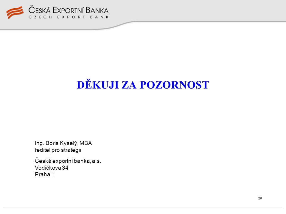28 DĚKUJI ZA POZORNOST Ing. Boris Kyselý, MBA ředitel pro strategii Česká exportní banka, a.s. Vodičkova 34 Praha 1