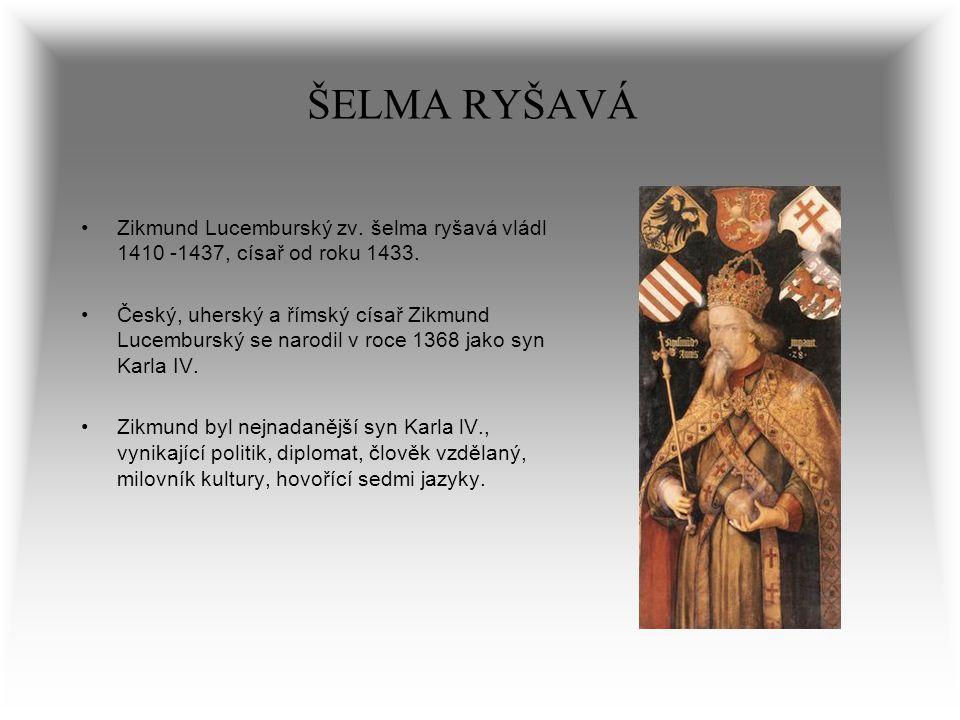 ŠELMA RYŠAVÁ Zikmund Lucemburský zv. šelma ryšavá vládl 1410 -1437, císař od roku 1433. Český, uherský a římský císař Zikmund Lucemburský se narodil v