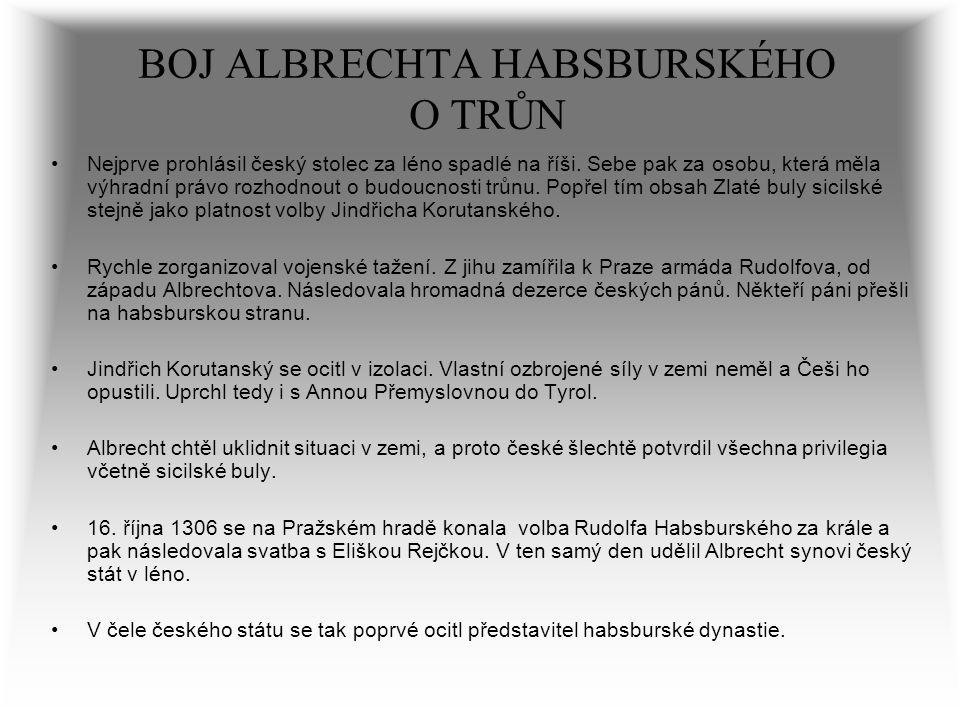 BOJ ALBRECHTA HABSBURSKÉHO O TRŮN Nejprve prohlásil český stolec za léno spadlé na říši. Sebe pak za osobu, která měla výhradní právo rozhodnout o bud