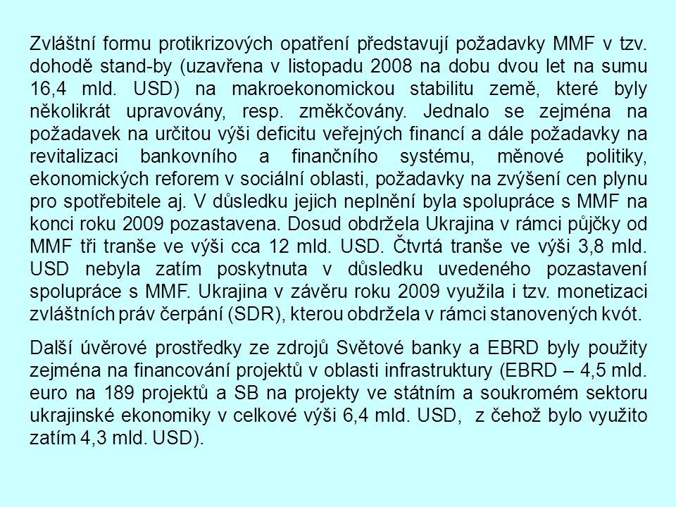 Zvláštní formu protikrizových opatření představují požadavky MMF v tzv. dohodě stand-by (uzavřena v listopadu 2008 na dobu dvou let na sumu 16,4 mld.