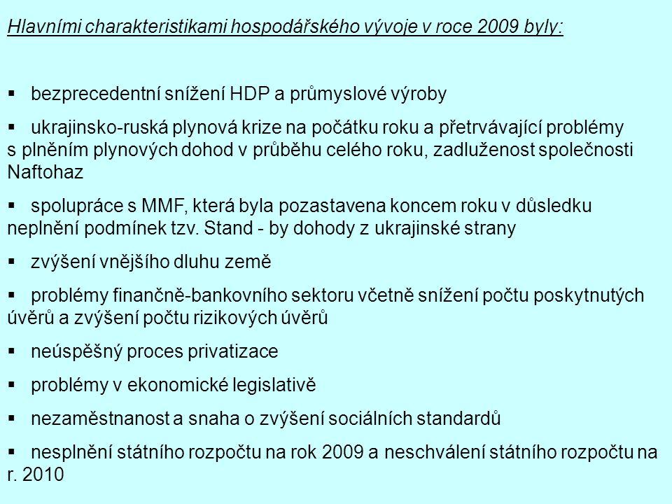 Hlavními charakteristikami hospodářského vývoje v roce 2009 byly:  bezprecedentní snížení HDP a průmyslové výroby  ukrajinsko-ruská plynová krize na
