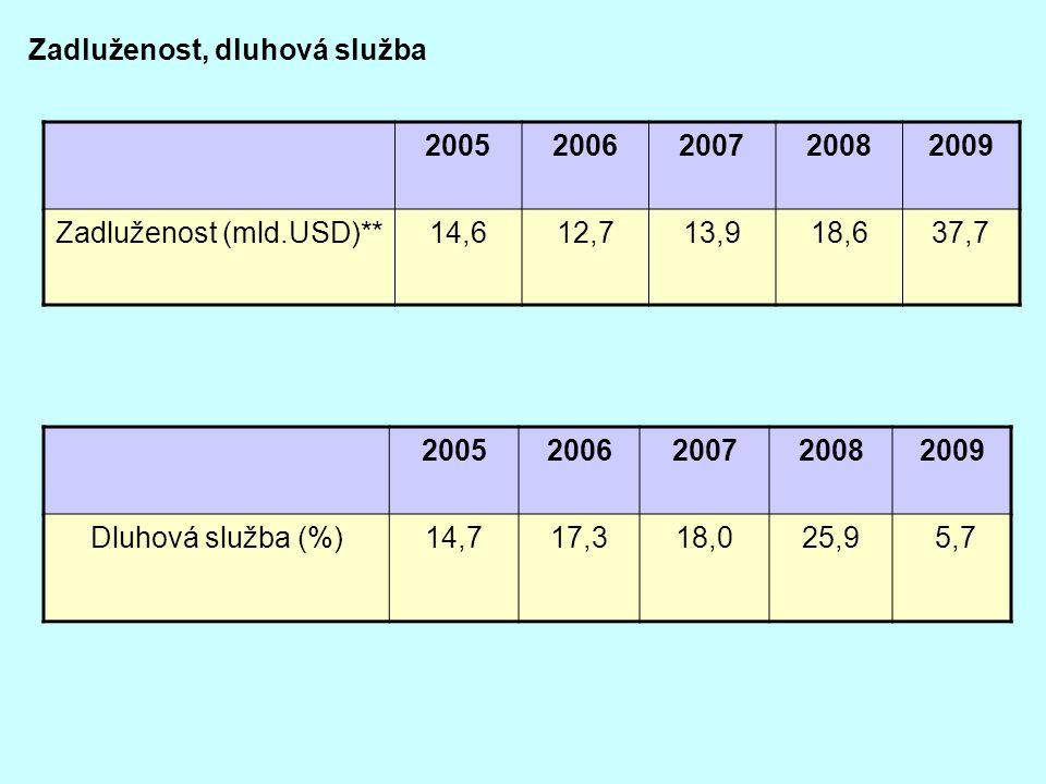 Zadluženost, dluhová služba 20052006200720082009 Zadluženost (mld.USD)**14,612,713,918,637,7 20052006200720082009 Dluhová služba (%)14,717,318,025,9 5