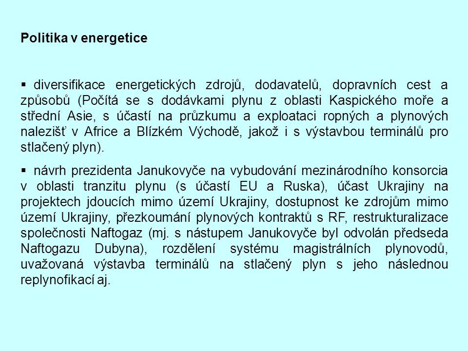 Politika v energetice  diversifikace energetických zdrojů, dodavatelů, dopravních cest a způsobů (Počítá se s dodávkami plynu z oblasti Kaspického mo