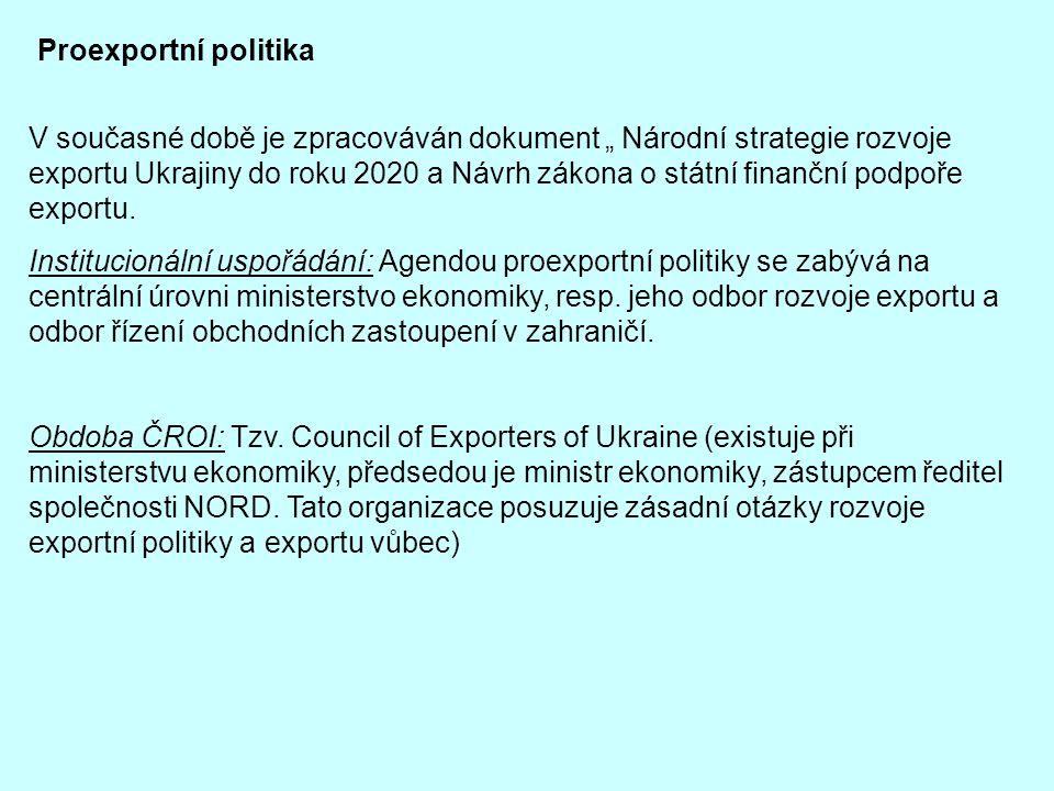 """Proexportní politika V současné době je zpracováván dokument """" Národní strategie rozvoje exportu Ukrajiny do roku 2020 a Návrh zákona o státní finančn"""