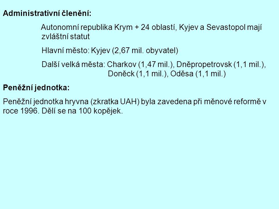 Administrativní členění: Autonomní republika Krym + 24 oblastí, Kyjev a Sevastopol mají zvláštní statut Hlavní město: Kyjev (2,67 mil. obyvatel) Další