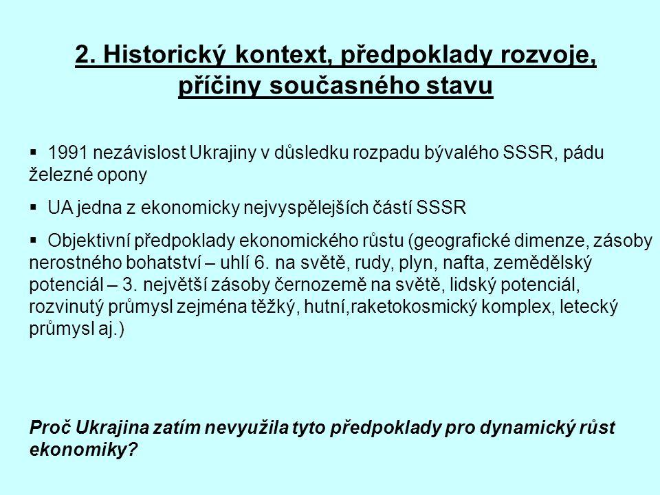 2. Historický kontext, předpoklady rozvoje, příčiny současného stavu  1991 nezávislost Ukrajiny v důsledku rozpadu bývalého SSSR, pádu železné opony