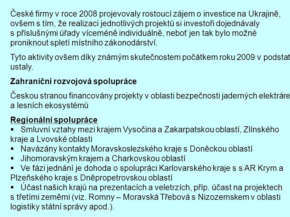 České firmy v roce 2008 projevovaly rostoucí zájem o investice na Ukrajině, ovšem s tím, že realizaci jednotlivých projektů si investoři dojednávaly s