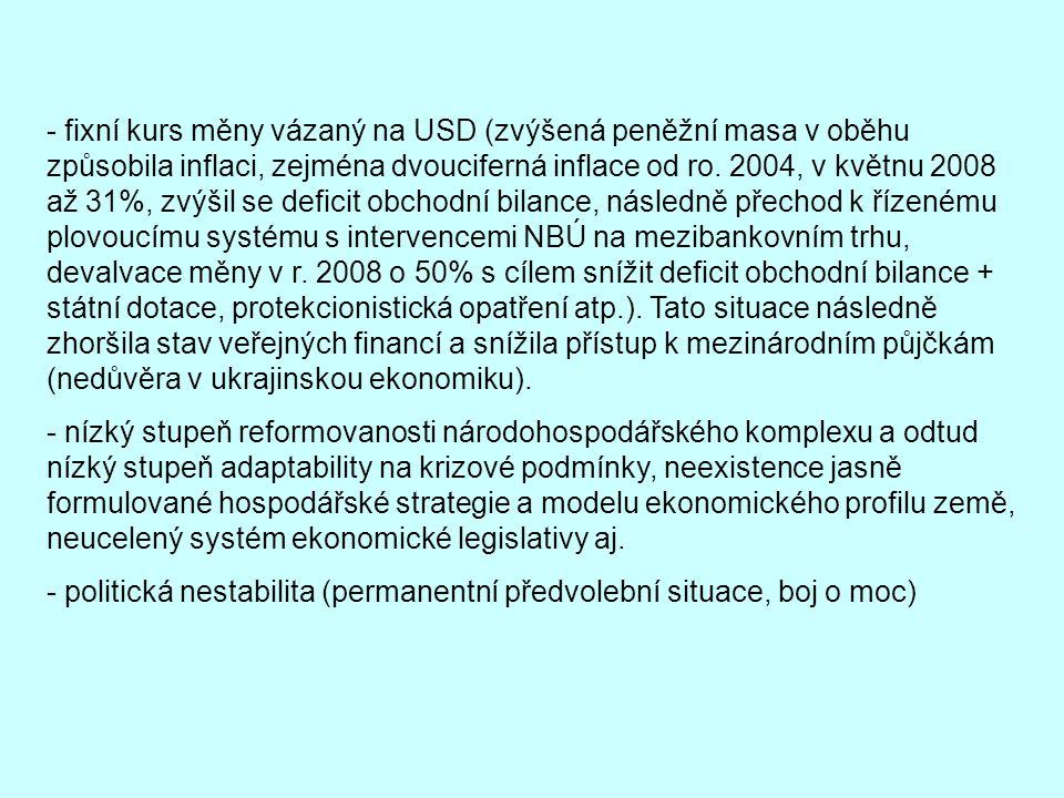 - fixní kurs měny vázaný na USD (zvýšená peněžní masa v oběhu způsobila inflaci, zejména dvouciferná inflace od ro. 2004, v květnu 2008 až 31%, zvýšil