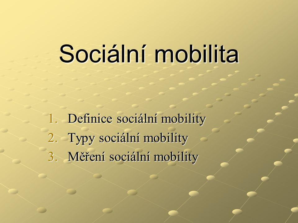 Definice sociální mobility Sociální mobilita je pohyb sociálních subjektů (jednotlivých osob) v sociálním prostoru tvořeném soustavou sociálních pozic.