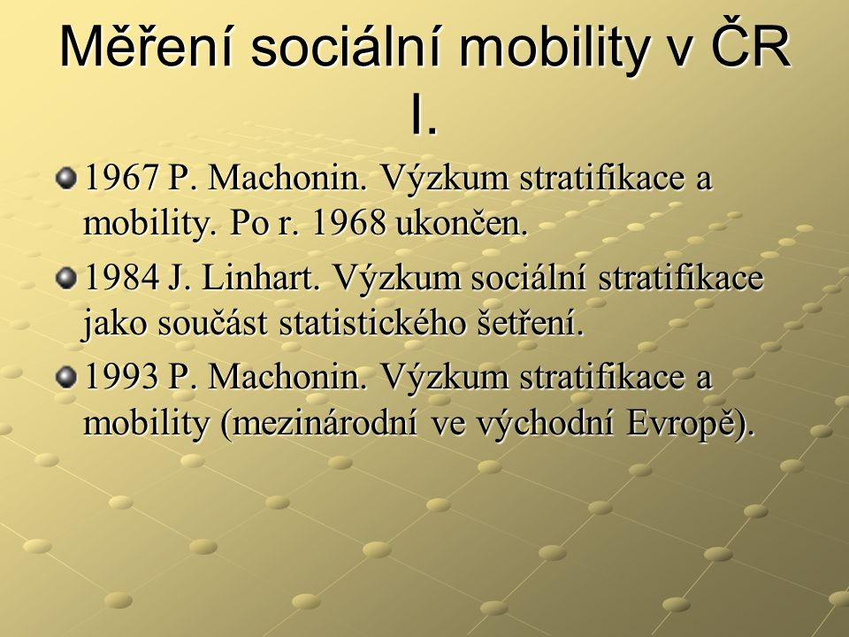 Měření sociální mobility v ČR I. 1967 P. Machonin. Výzkum stratifikace a mobility. Po r. 1968 ukončen. 1984 J. Linhart. Výzkum sociální stratifikace j