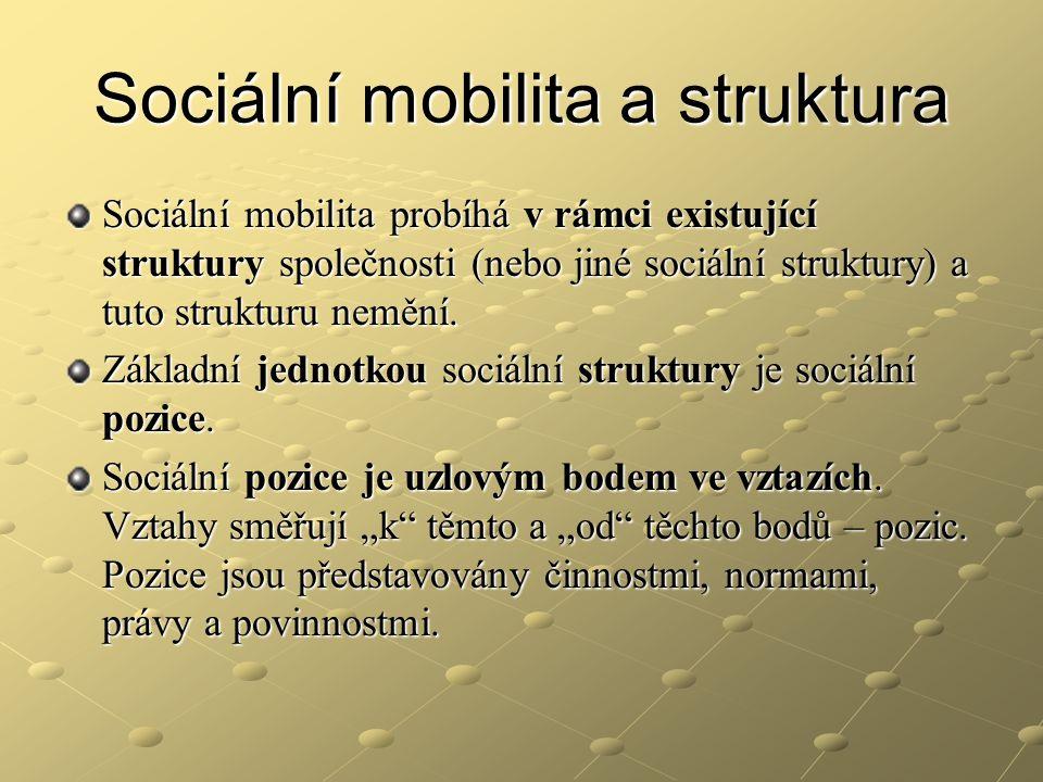 Sociální mobilita a struktura Sociální mobilita probíhá v rámci existující struktury společnosti (nebo jiné sociální struktury) a tuto strukturu neměn
