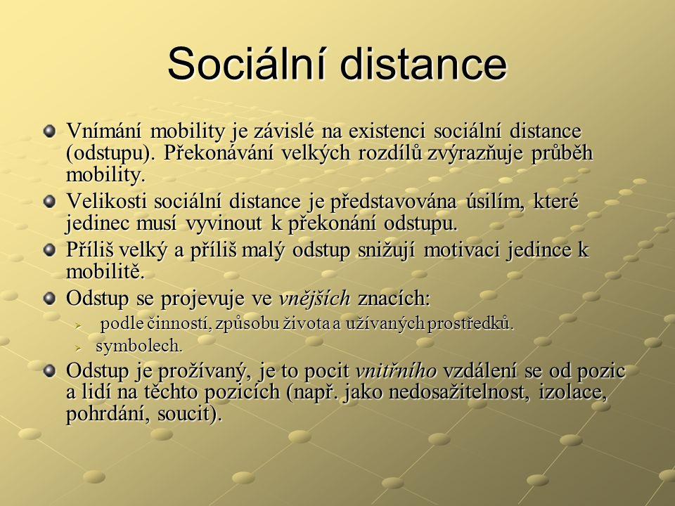 Sociální distance Vnímání mobility je závislé na existenci sociální distance (odstupu). Překonávání velkých rozdílů zvýrazňuje průběh mobility. Veliko