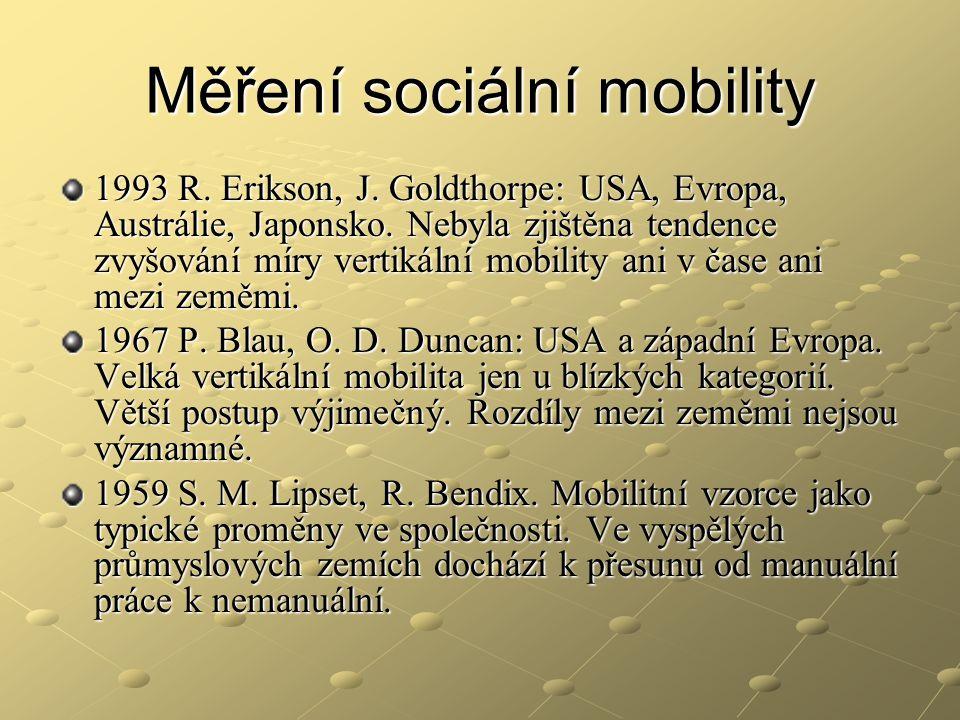 Měření sociální mobility 1993 R. Erikson, J. Goldthorpe: USA, Evropa, Austrálie, Japonsko. Nebyla zjištěna tendence zvyšování míry vertikální mobility