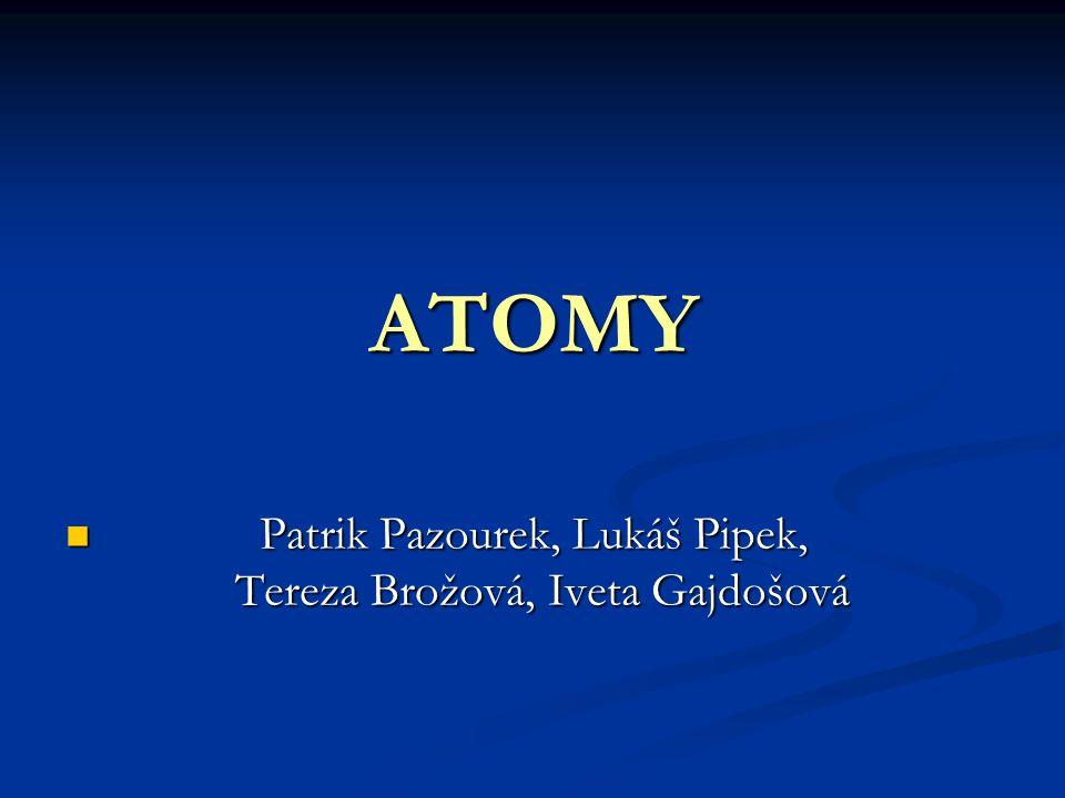 Atom Každá látka je složena z mikroskopických částic Každá látka je složena z mikroskopických částic zvaných atomy, které už nelze chemickými metodami dělit.Atomy se skládají z kladně nabitého jádra a záporně nabitého obalu.
