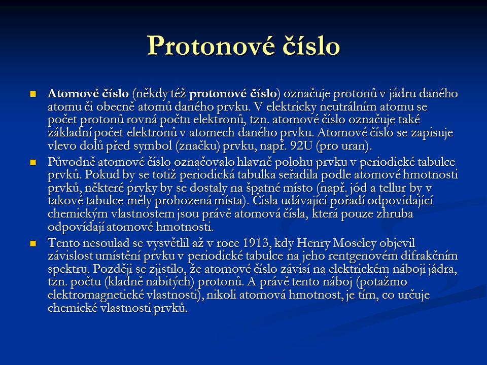Protonové číslo Atomové číslo (někdy též protonové číslo) označuje protonů v jádru daného atomu či obecně atomů daného prvku. V elektricky neutrálním