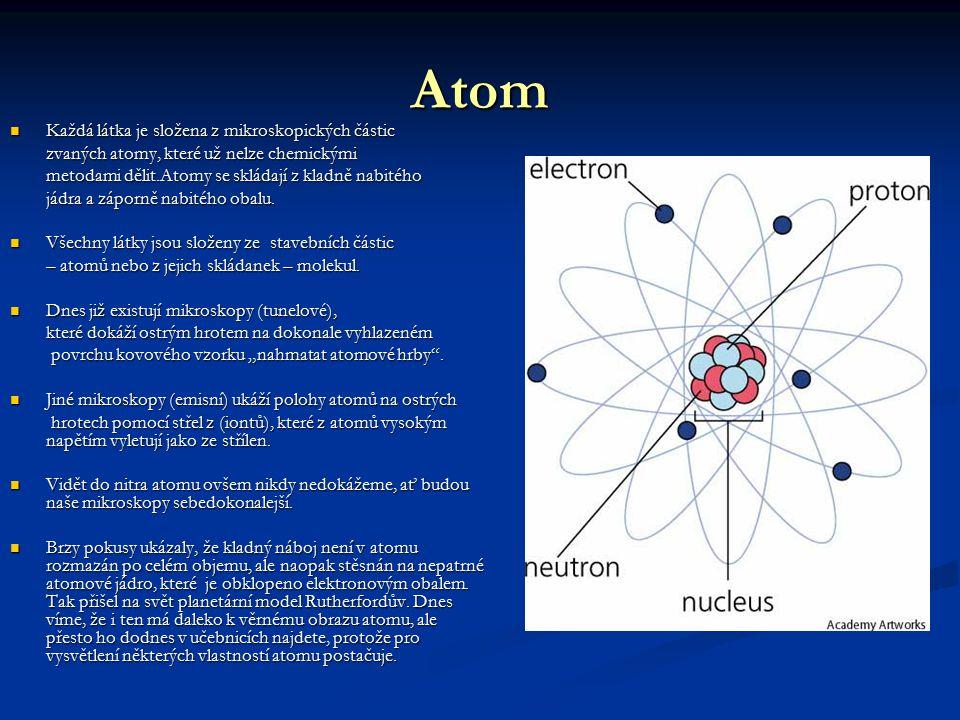Atom Každá látka je složena z mikroskopických částic Každá látka je složena z mikroskopických částic zvaných atomy, které už nelze chemickými metodami