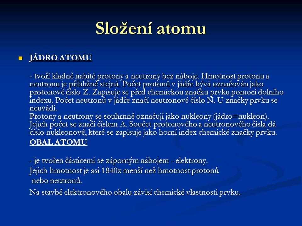 Složení atomu JÁDRO ATOMU JÁDRO ATOMU - tvoří kladně nabité protony a neutrony bez náboje. Hmotnost protonu a neutronu je přibližně stejná. Počet prot