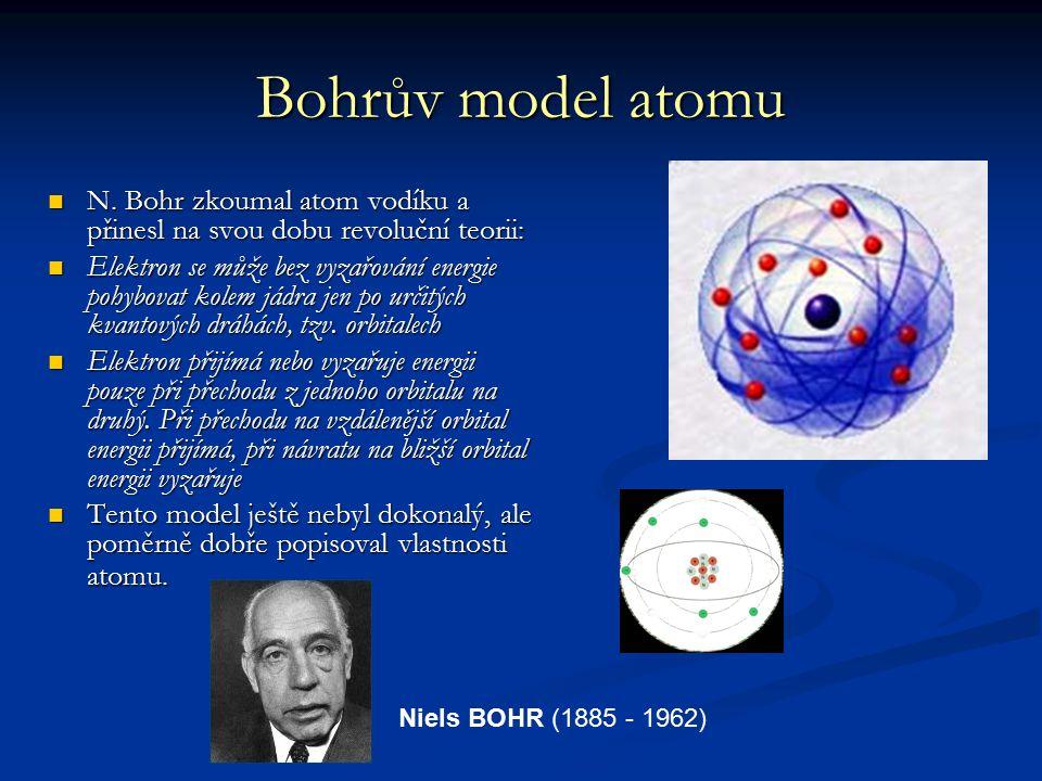 Bohrův model atomu N. Bohr zkoumal atom vodíku a přinesl na svou dobu revoluční teorii: N. Bohr zkoumal atom vodíku a přinesl na svou dobu revoluční t
