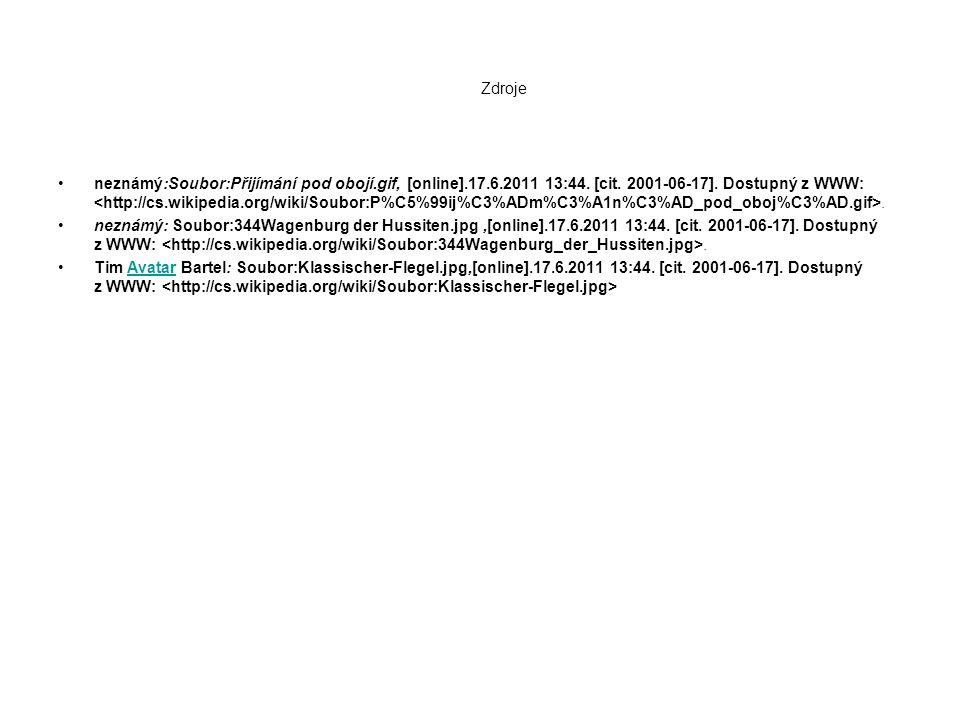Zdroje neznámý:Soubor:Přijímání pod obojí.gif, [online].17.6.2011 13:44. [cit. 2001-06-17]. Dostupný z WWW:. neznámý: Soubor:344Wagenburg der Hussiten