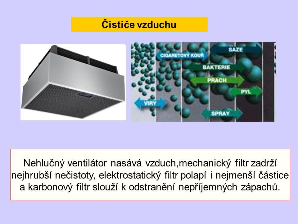 Čističe vzduchu Nehlučný ventilátor nasává vzduch,mechanický filtr zadrží nejhrubší nečistoty, elektrostatický filtr polapí i nejmenší částice a karbo