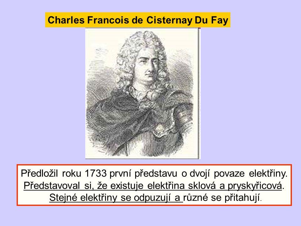 Charles Francois de Cisternay Du Fay Předložil roku 1733 první představu o dvojí povaze elektřiny. Představoval si, že existuje elektřina sklová a pry