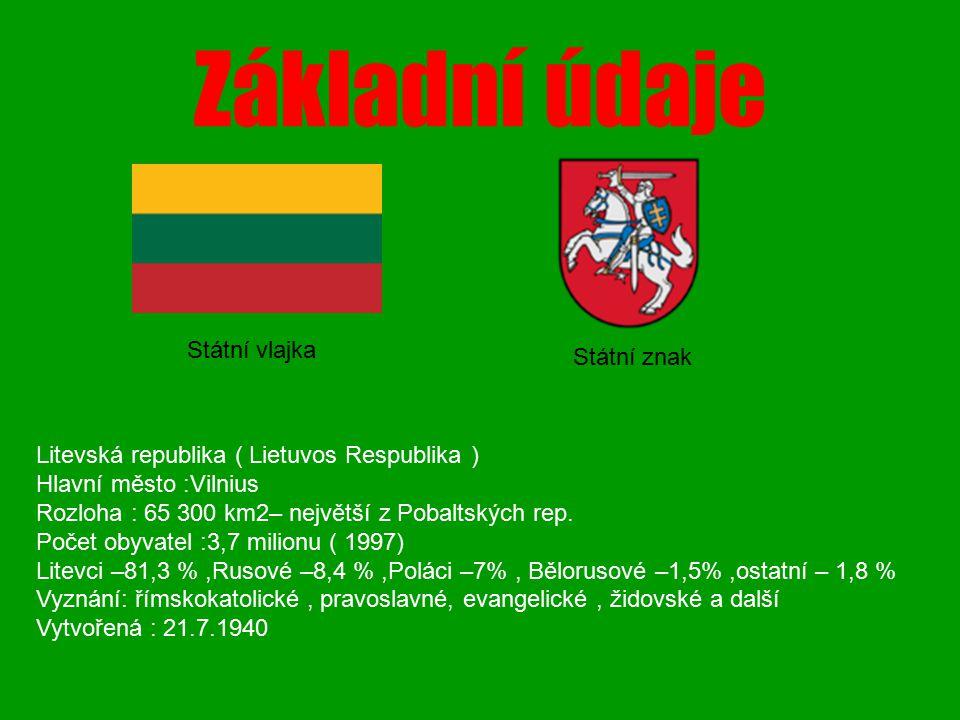 Základní údaje Litevská republika ( Lietuvos Respublika ) Hlavní město :Vilnius Rozloha : 65 300 km2– největší z Pobaltských rep. Počet obyvatel :3,7