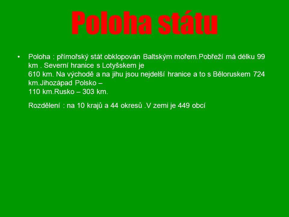 Poloha státu Poloha : přímořský stát obklopován Baltským mořem.Pobřeží má délku 99 km. Severní hranice s Lotyšskem je 610 km. Na východě a na jihu jso