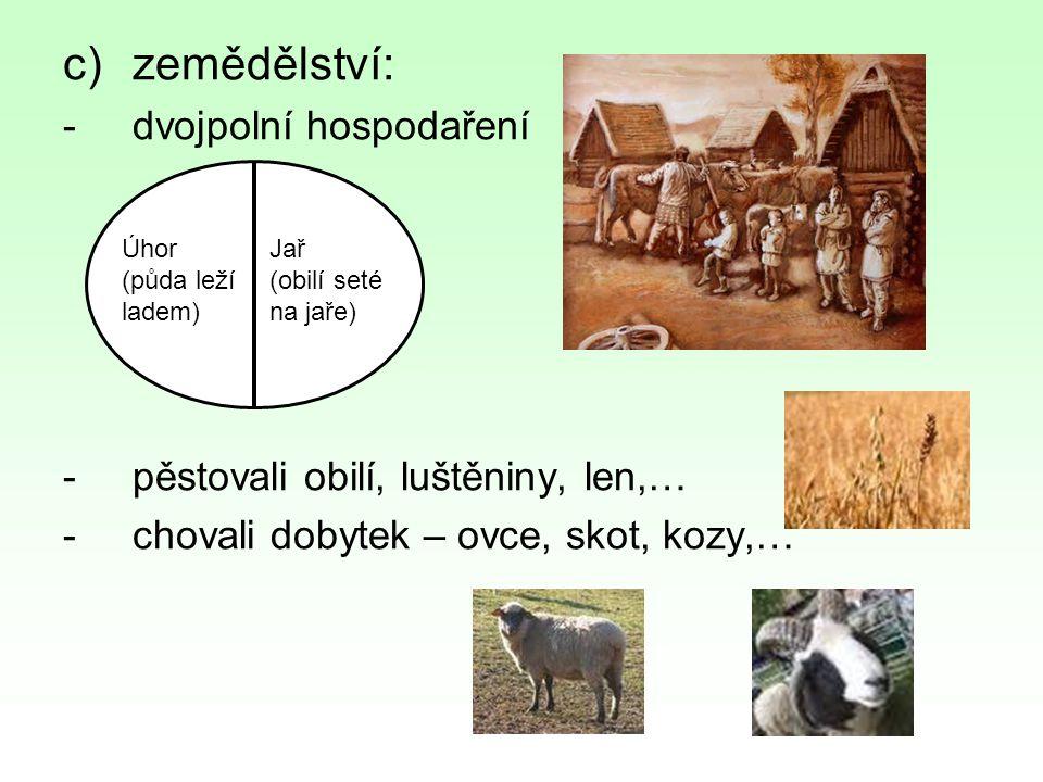 c)zemědělství: -dvojpolní hospodaření -pěstovali obilí, luštěniny, len,… -chovali dobytek – ovce, skot, kozy,… Úhor (půda leží ladem) Jař (obilí seté