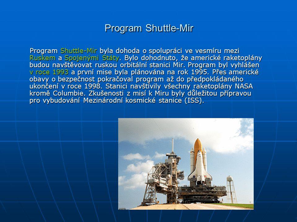 Mir- Мир Byla vybudována na oběžné dráze propojením modulů Mir, Kvant-1 (typová řada 37), Kvant-2, Kristal, Spektr, Priroda a DM, které byly do vesmíru odděleně vypouštěny v letech 1986–1996.