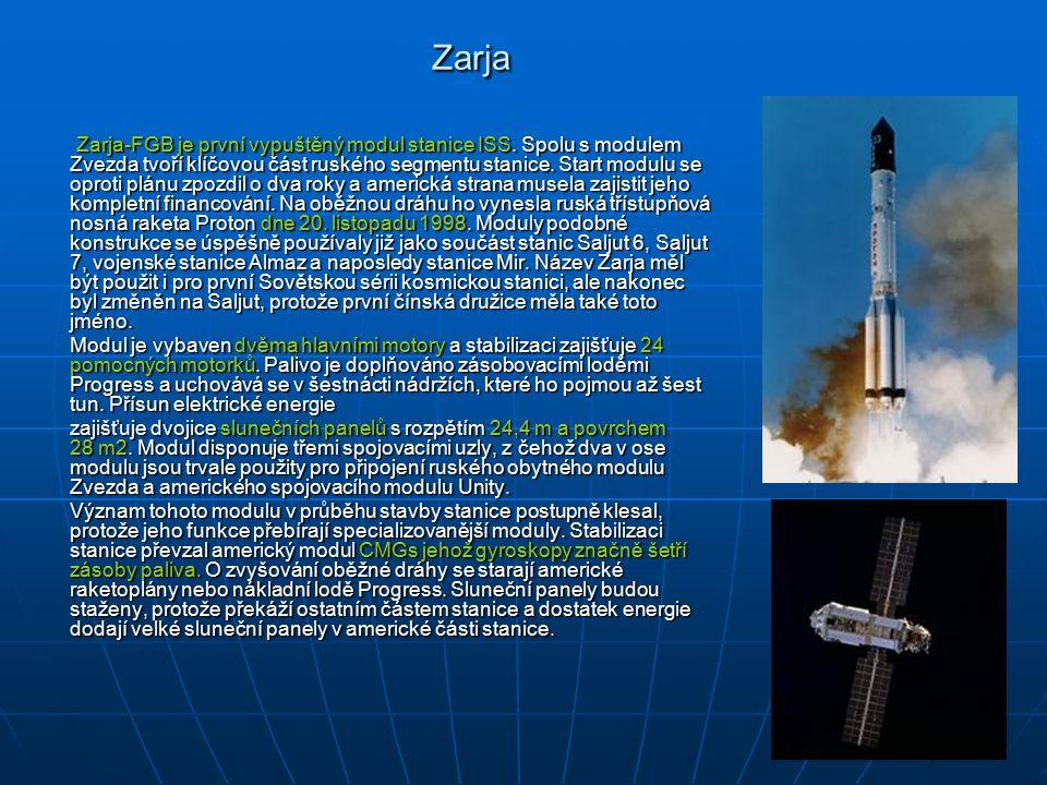 Zarja Zarja-FGB je první vypuštěný modul stanice ISS.