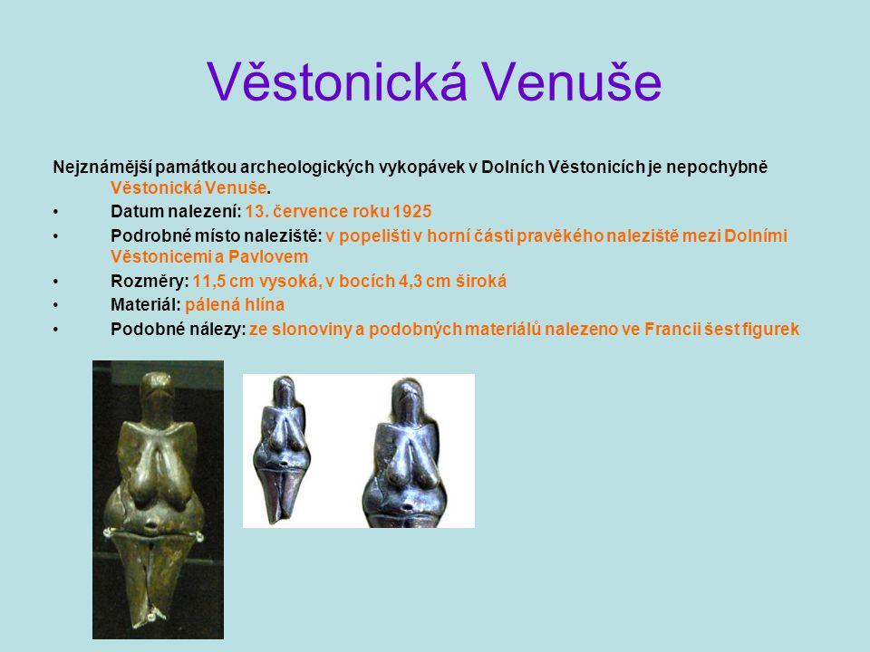 Věstonická Venuše Nejznámější památkou archeologických vykopávek v Dolních Věstonicích je nepochybně Věstonická Venuše. Datum nalezení: 13. července r