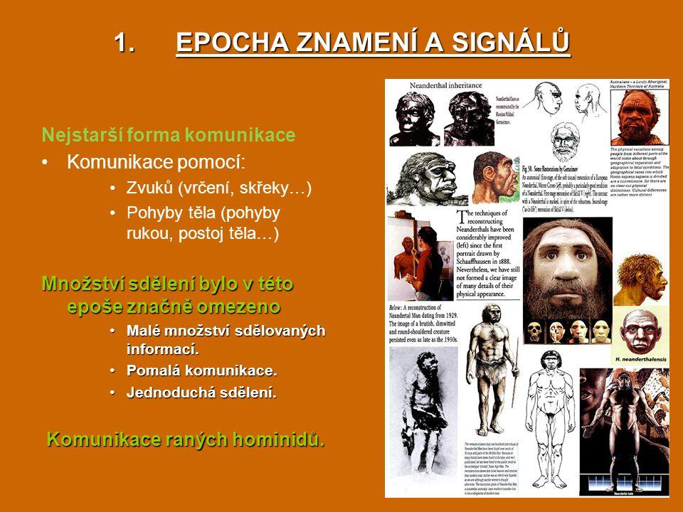 1.EPOCHA ZNAMENÍ A SIGNÁLŮ Nejstarší forma komunikace Komunikace pomocí: Zvuků (vrčení, skřeky…) Pohyby těla (pohyby rukou, postoj těla…) Množství sdě