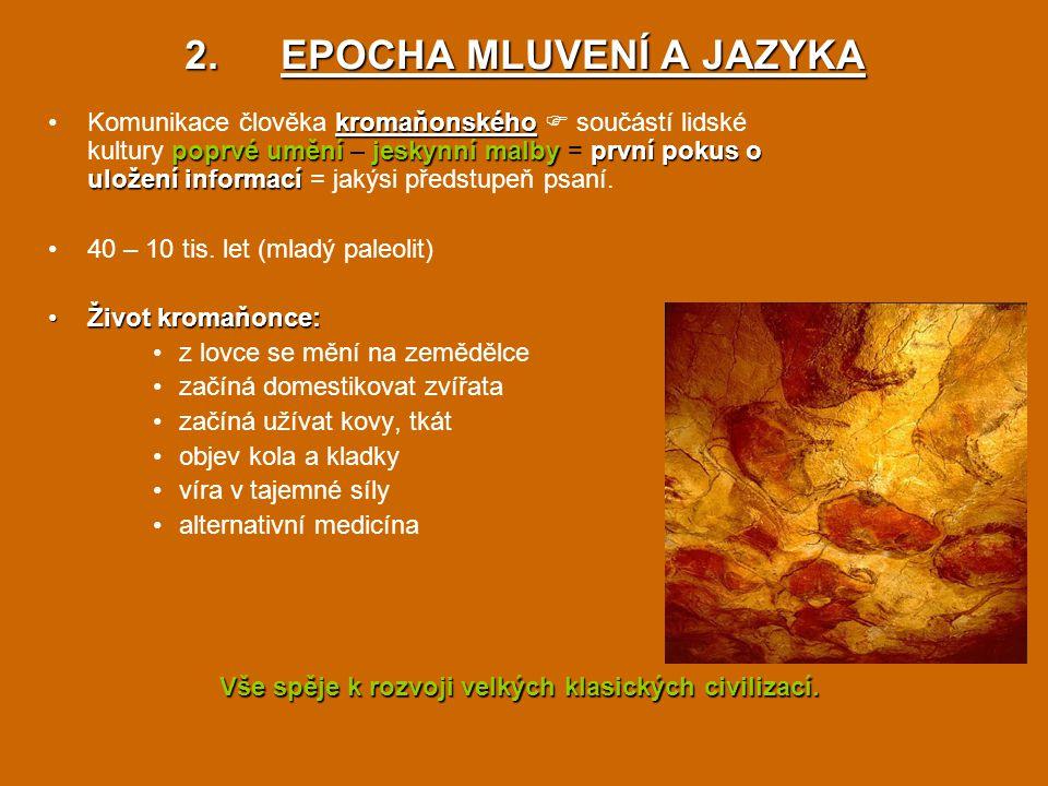 2.EPOCHA MLUVENÍ A JAZYKA kromaňonského poprvé uměníjeskynní malbyprvní pokus o uložení informacíKomunikace člověka kromaňonského  součástí lidské ku