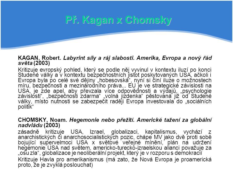 Př.Kagan x Chomsky KAGAN, Robert. Labyrint síly a ráj slabosti.
