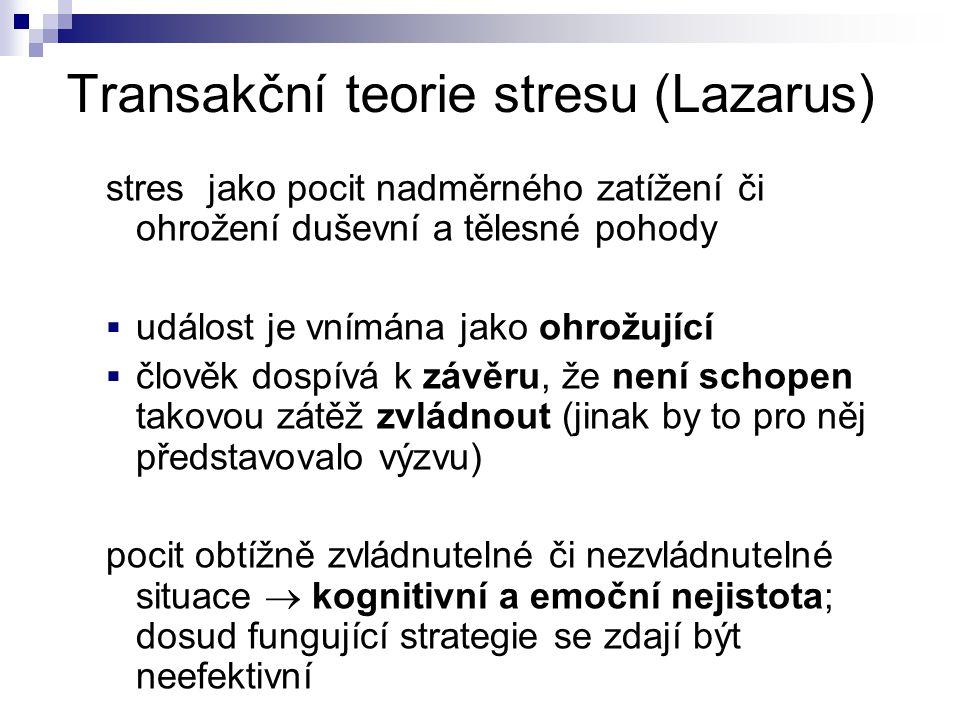 Transakční teorie stresu (Lazarus) stres jako pocit nadměrného zatížení či ohrožení duševní a tělesné pohody  událost je vnímána jako ohrožující  čl