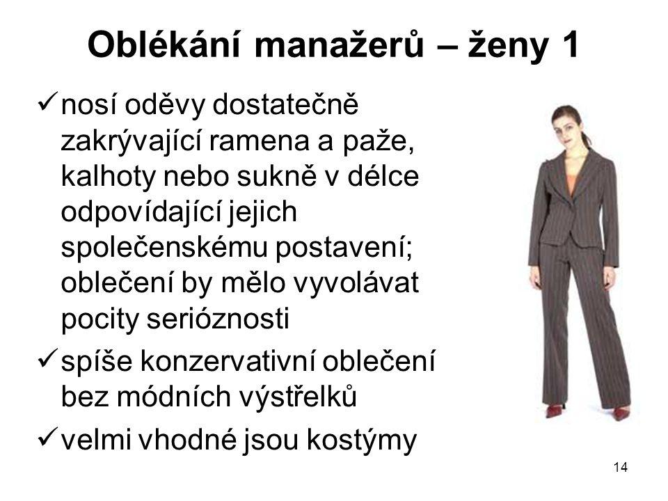 14 Oblékání manažerů – ženy 1 nosí oděvy dostatečně zakrývající ramena a paže, kalhoty nebo sukně v délce odpovídající jejich společenskému postavení;