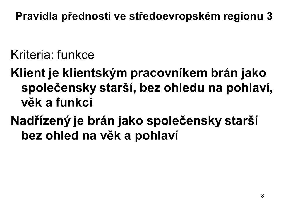 8 Pravidla přednosti ve středoevropském regionu 3 Kriteria: funkce Klient je klientským pracovníkem brán jako společensky starší, bez ohledu na pohlav