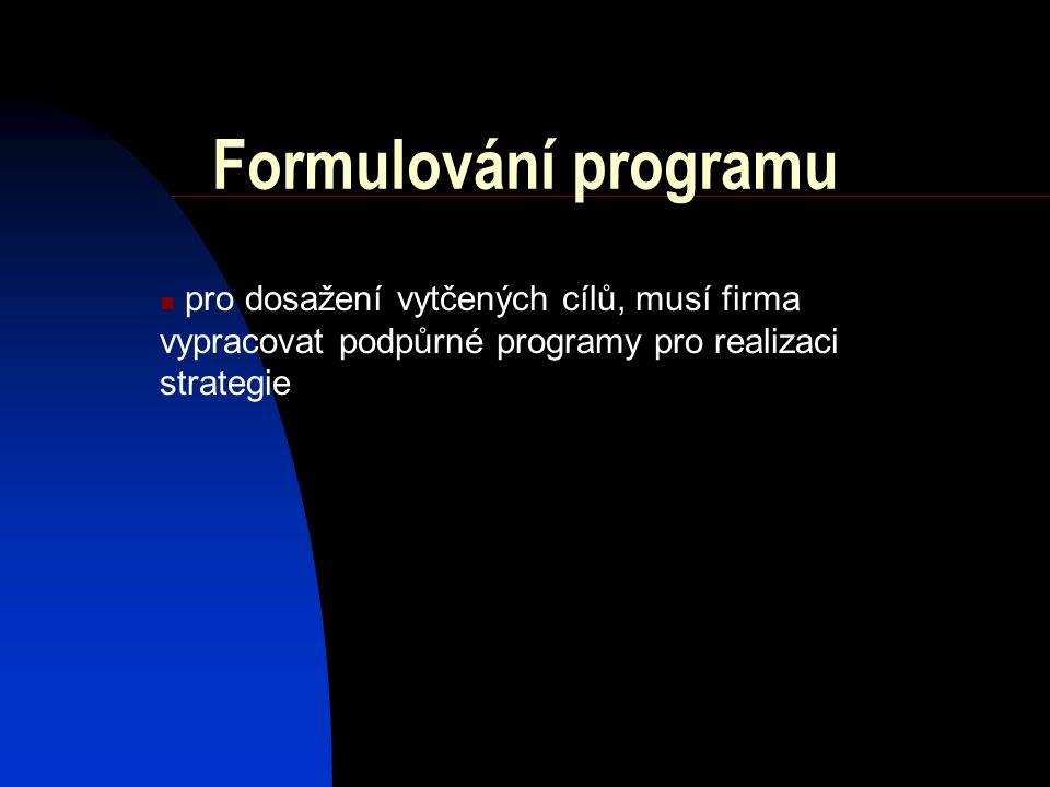 Formulování programu pro dosažení vytčených cílů, musí firma vypracovat podpůrné programy pro realizaci strategie
