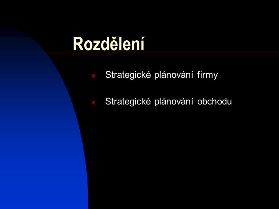 Rozdělení Strategické plánování firmy Strategické plánování obchodu