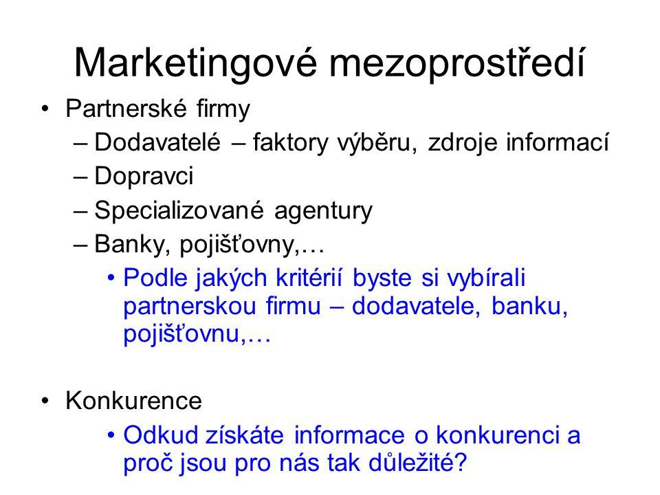 Marketingové mezoprostředí Partnerské firmy –Dodavatelé – faktory výběru, zdroje informací –Dopravci –Specializované agentury –Banky, pojišťovny,… Pod