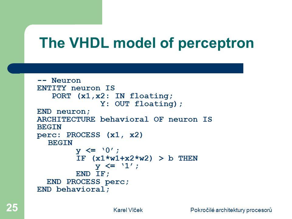 Karel VlčekPokročilé architektury procesorů 25 The VHDL model of perceptron -- Neuron ENTITY neuron IS PORT (x1,x2: IN floating; Y: OUT floating); END