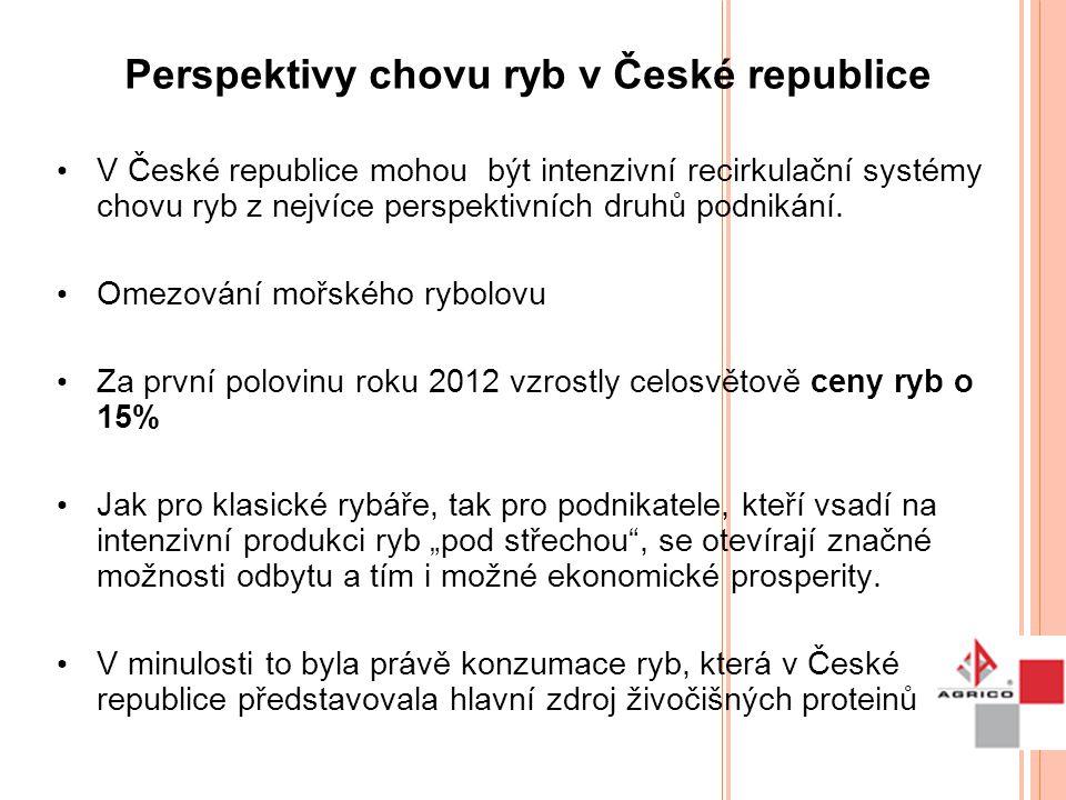 Perspektivy chovu ryb v České republice V České republice mohou být intenzivní recirkulační systémy chovu ryb z nejvíce perspektivních druhů podnikání
