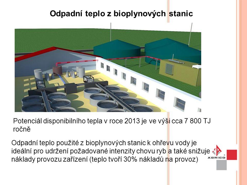 Odpadní teplo z bioplynových stanic Potenciál disponibilního tepla v roce 2013 je ve výši cca 7 800 TJ ročně Odpadní teplo použité z bioplynových stan