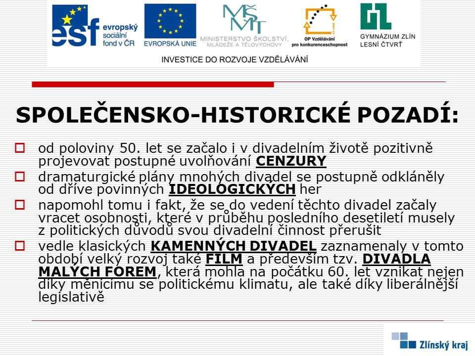 SPOLEČENSKO-HISTORICKÉ POZADÍ:  od poloviny 50.