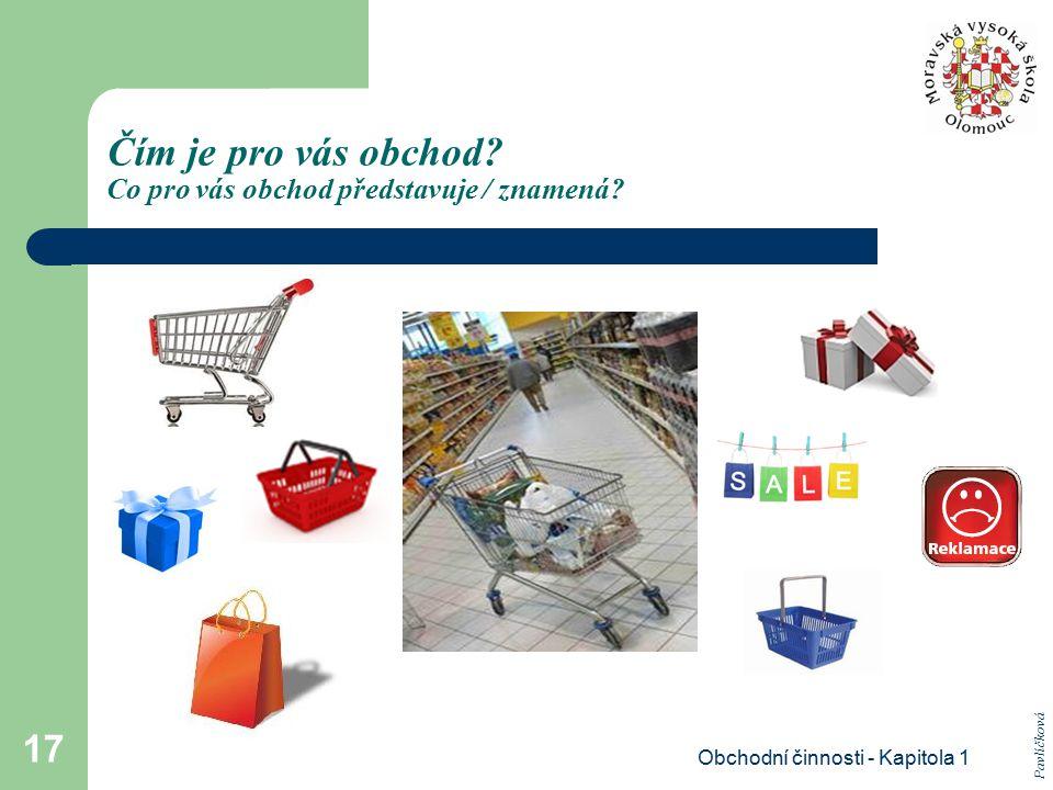 Obchodní činnosti - Kapitola 1 17 Čím je pro vás obchod? Co pro vás obchod představuje / znamená? Pavlíčková