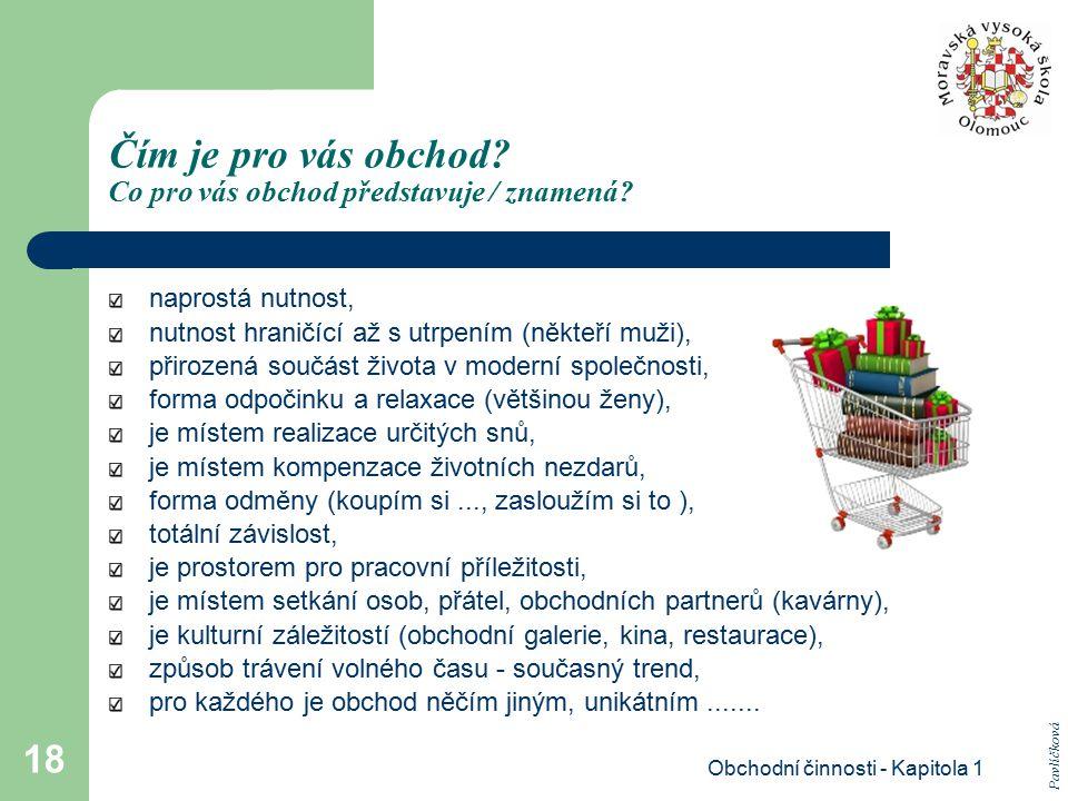 Obchodní činnosti - Kapitola 1 18 Čím je pro vás obchod? Co pro vás obchod představuje / znamená? naprostá nutnost, nutnost hraničící až s utrpením (n