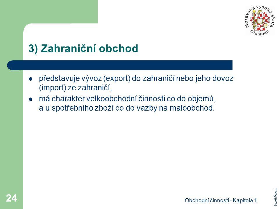 Obchodní činnosti - Kapitola 1 24 3) Zahraniční obchod představuje vývoz (export) do zahraničí nebo jeho dovoz (import) ze zahraničí, má charakter vel